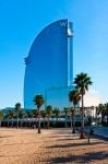 "Image of Barcelona. Barcelona,  blue ""W"" hotel landmark"