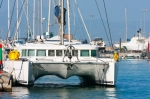 Image of boats. Luxurious sailing catamaran