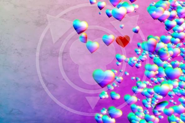 Rainbow Hearts grunge background