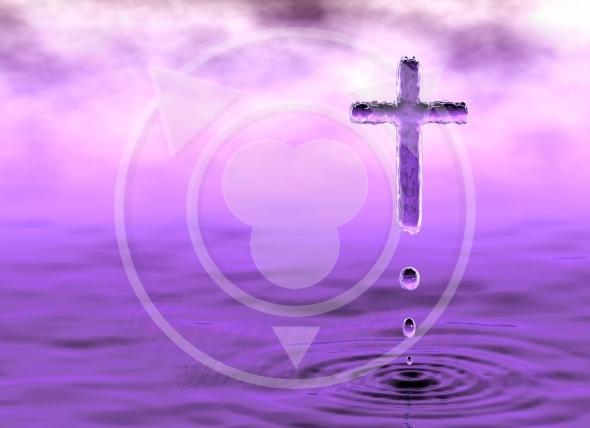 Christian cross holy water