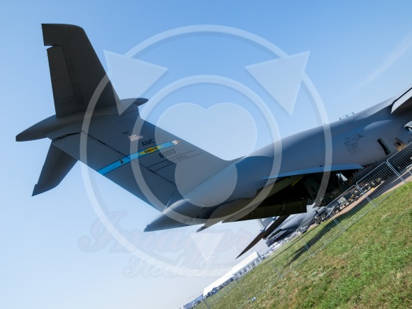 Tail and loading dock of Lockheed C-5 Galaxy