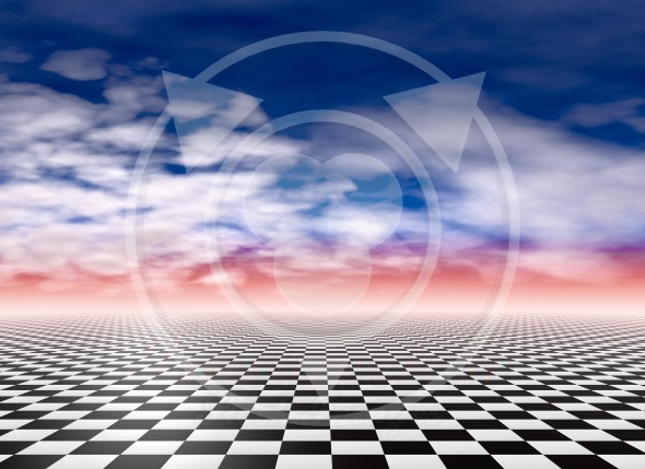 Checkered floor, cloudy sky background