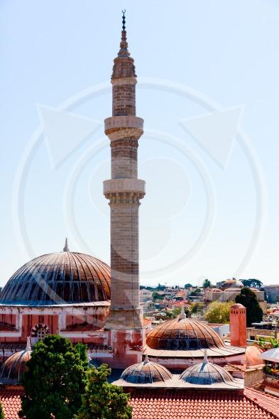 Minaret of Sultan Suleiman mosque, Rhodes, Greece