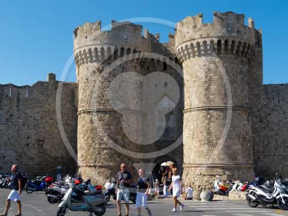 RHODES CITY, GREECE – Towers of Marine Gate of Old Town Castle
