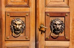 Image of lion. Brass door knockers, lion heads