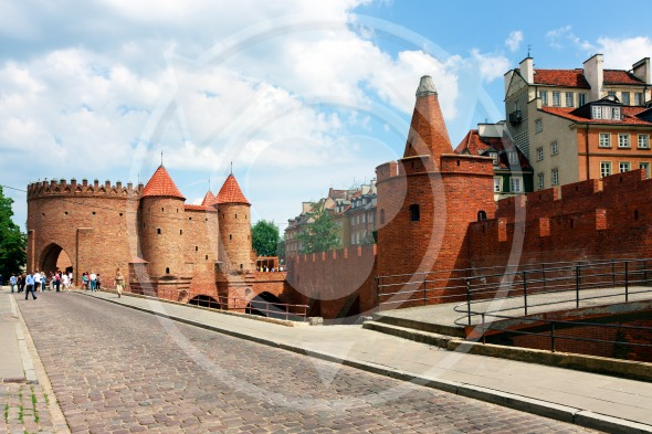 Barbican fortress in Warsaw. Famous landmark
