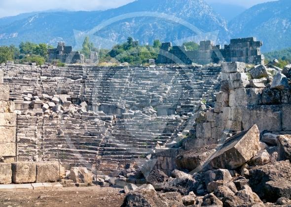 Ancient amphitheatre ruins in Tlos