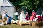 Image of camp. Medieval women in the camp