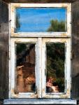 Image of window. Window reflections