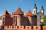 Image of fortification. Barbican in Warsaw City, Poland