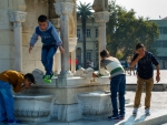 Image of Turkey. Izmir, children at the Clock Tower