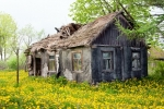 Image of barn. Wooden ramshackle cottage house