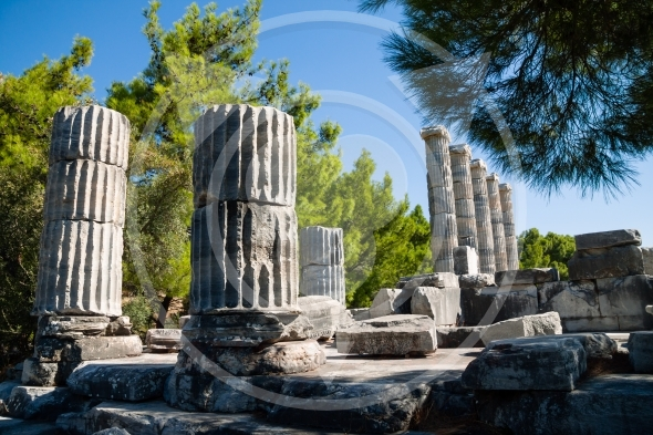 Ancient ruins of  Temple of Athena in Priene