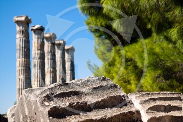 Ancient columns, Temple of Athena ruins of Priene, Turkey