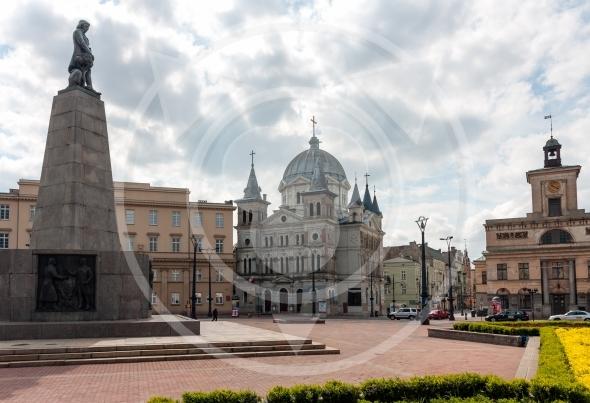 Liberty Square Kosciuszko statue. Lodz City landmarks