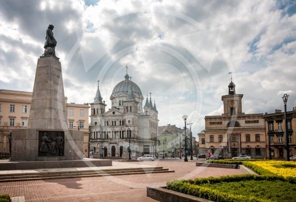 Lodz, Liberty Square and Kosciuszko statue