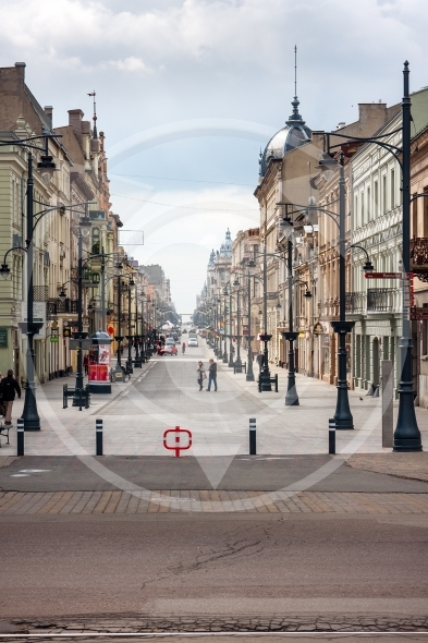 Lodz City, famous Piotrkowska Street