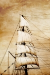 Image of ships. Sails on old paper