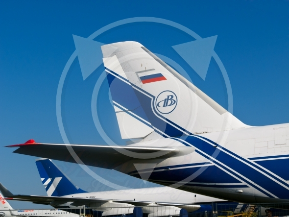 Tail wings of Russian AN-124-100  jet