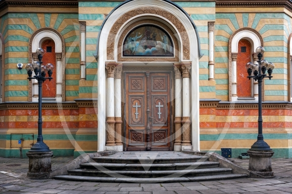 Lodz Cathedral entrance. Alexander Nevsky Orthodox Church, Poland