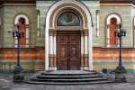 Image of worship. Lodz Cathedral entrance. Alexander Nevsky Orthodox Church, Poland