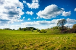 Image of spring. Countryside field and blue sky clouds