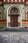 Image of cathedral. Entrance to Cathedral of Alexander Nevsky. Lodz, Poland