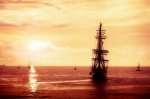 Image of pirate. Pirate ship sailing
