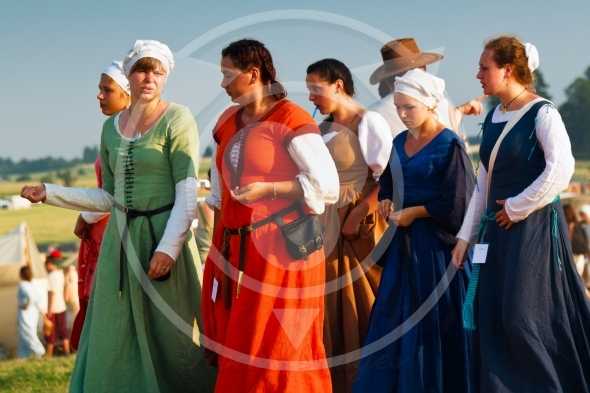 Medieval women costumes during Battle of Grunwald 601th anniversary