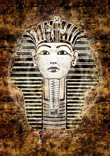Tutankhamun, King Tut, Egypt. Vintage style illustration