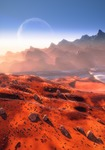Image of sunset. Mars the Red Planet sunset