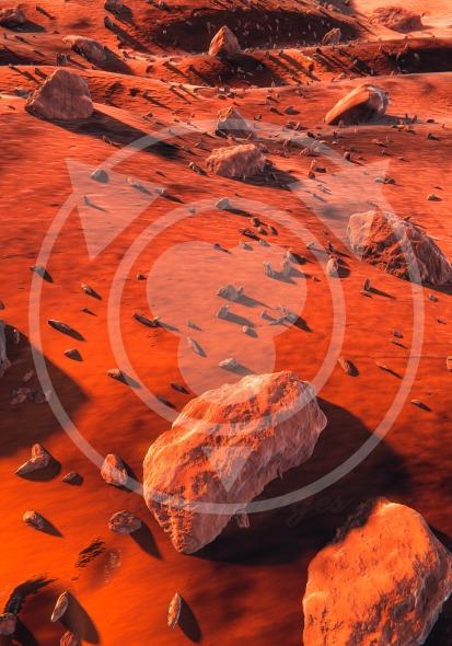 Large rocks on the ground of Mars