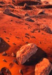 Image of planet. Large rocks on the ground of Mars