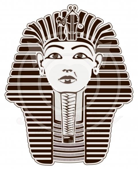 Tutankhamun, King Tut pharaoh, Egypt. Outline illustration