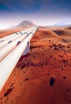 Image of pipeline. Mars, pipeline in the desert
