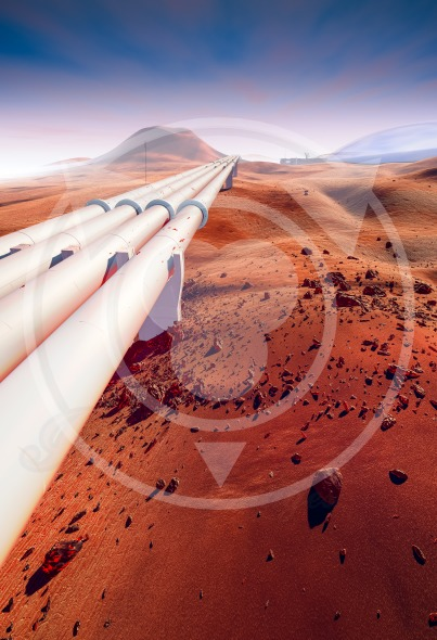 Mars, pipeline in the desert