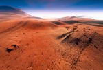 Image of Martian. Martian landscape aerial view, craters and  rocks