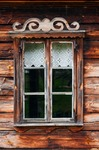 Image of wooden. Old log house window