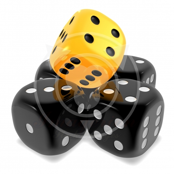 Dice cubes in black and yellow