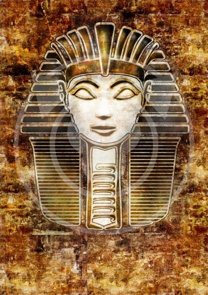 Sphinx Head – Hatshepsut pharaoh. Vintage style illustration