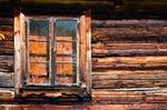 Image of window. Old log house window