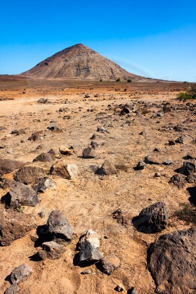 Volcanic crater and desert rocks, Cape Verde, Africa