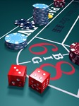Image of craps. Dice on craps table