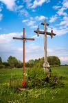 Image of cross. The Christian Cross in a field