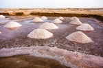 Image of salt. Salt mining mounds, Salinas of Africa
