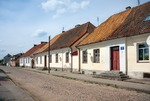 Image of Polish. Traditional Polish buildings at Kaczorowska Street in Tykocin