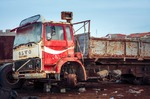 Image of abandoned. Volvo truck at the scrap-heap