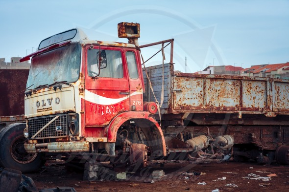 Volvo truck at the scrap-heap