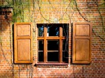Image of brick. Window shutters