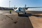 Image of aircraft. Cape Verde, small propeller plane at Cesaria Evora Airport